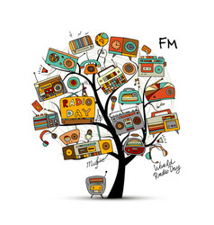vintage radio tree sketch for your design vector image vector image