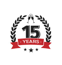 15 th birthday vintage logo template fifteenth vector