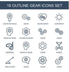 16 gear icons vector