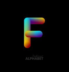 3d iridescent gradient letter f vector