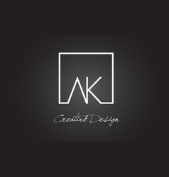 ak square frame letter logo design with black and vector image