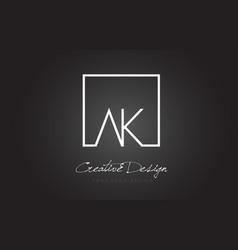 Ak square frame letter logo design with black vector