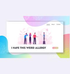 Allergy concept website landing page sick vector