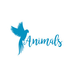 Animals logo template with flying bird vector