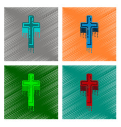 assembly flat shading style icon cross the blood vector image