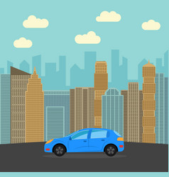blue sports car in the city vector image