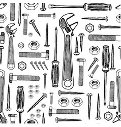 Building tools hand drawn pattern vector