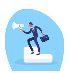 Businessman holding loudspeaker information vector