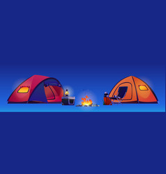 camping hiking tents bonfire and tourist equipment vector image