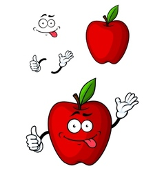 Cartooned red apple fruit character vector image
