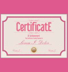 certificate retro vintage pink template vector image