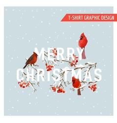 Christmas Winter Birds and Berries Graphic Design vector