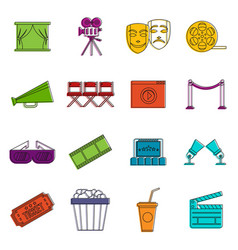 cinema icons doodle set vector image