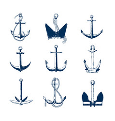 Collection of nautical anchors of various types vector