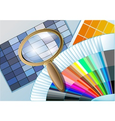 color table with a magnifying glass vector image