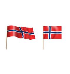 colorful naturalistic waving norway flag vector image