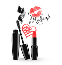Cosmetic products design mascara and lipstick vector