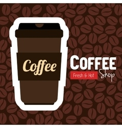 cup plastic coffee with bean background graphic vector image