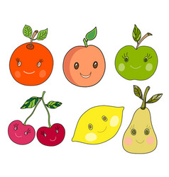 cute fruit in kawaii style vector image