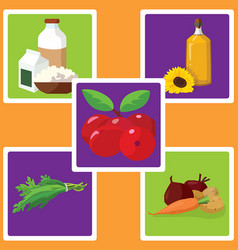 dairy products vegetable oil vegetables herbs vector image