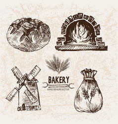 Digital detailed line art bakery vector