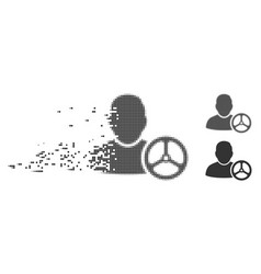 Disappearing pixel halftone driver wheel icon vector