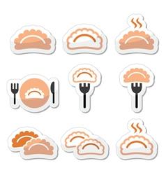 Dumplings food icons set vector image
