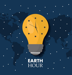 earth hour bulb light ecology clock map stars vector image