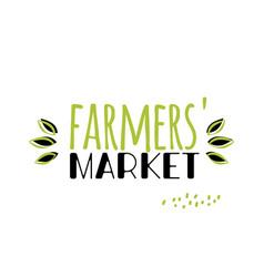 Eco label for farmers market simple logo vector