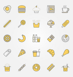 Fast food colorful icons unhealthy junk vector