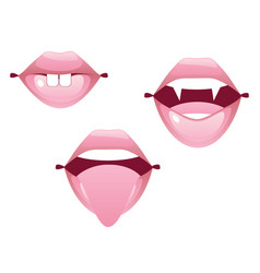female lip gestures set vector image