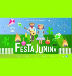 festa junina landing page vector image