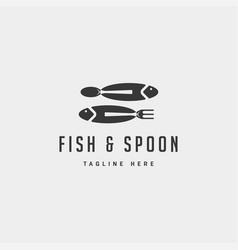 Fish food spoon fork logo design icon element vector