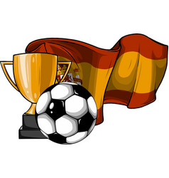 football ball with cup and spain flag vector image