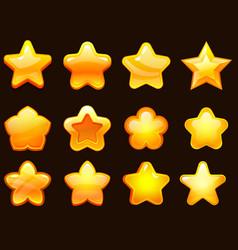 game ui star cartoonic glossy stars shapes shiny vector image