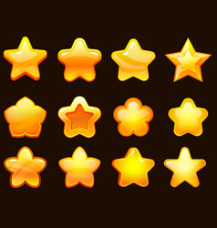 game ui star cartoonist glossy stars shapes shiny vector image