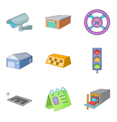 Garage shop icons set cartoon style vector