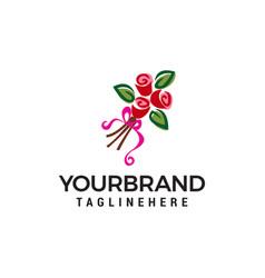 gift flower logo design concept template vector image