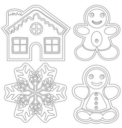 Gingerbread black and white poster - house man vector