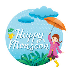 Girl with umbrella and raincoat jumping frame vector