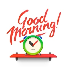 Good Morning Workspace mock up with analog alarm vector image