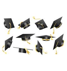 graduation caps elements for degree ceremony vector image