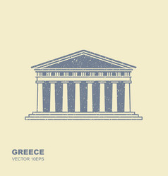 Greek parthenon icon in flat style with scuffing vector