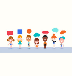 Group kids with speech bubble character vector