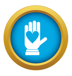 hand with heart icon blue isolated vector image