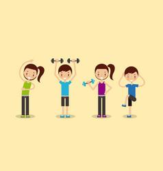 Happy fitness people image vector