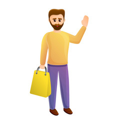 Happy shopper man icon cartoon style vector