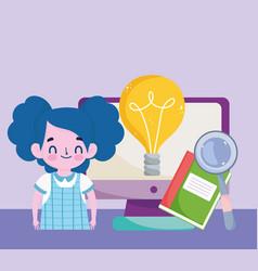 happy teachers day student girl computer book vector image