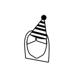 Head face girl party hat outline vector