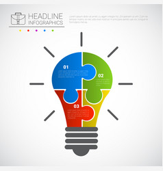 headline infographic design light bulb puzzle vector image